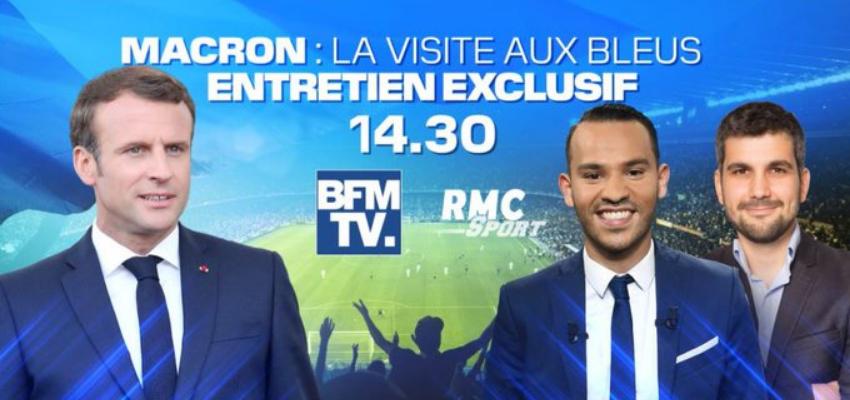 Interview d'Emmanuel Macron sur BFMTV et RMC @ centre technique national du football français. | Clairefontaine-en-Yvelines | Île-de-France | France